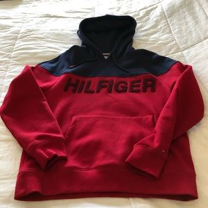 Hilfiger Mens hoodie. Navy/red. Small. Worn once.